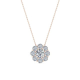 Round Diamond Halo Pendant 14K Gold (G,I1) - Rose Gold