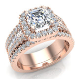 Stunning Princess Cushion Halo Diamond Wedding Ring Set 1.56 ctw 14K Gold (G,I1) - Rose Gold