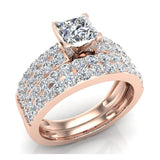 Two Row Princess Solitaire Diamond Engagement Ring Set 14K Gold (I,I1) - Rose Gold