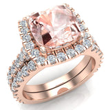Pink Morganite Cushion Cut Halo Diamond wedding rings for women 14K Gold 3.28 ctw (I,I1) - Rose Gold