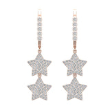 Star Diamond Dangle Earrings Dainty Drop Style 18K Gold 1.78 ctw (G,VS) - Rose Gold