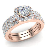 Round Cut Cushion Halo Ring Set w/ Enhancer Bands 1.33 Carat Total Weight 14K Gold (G,I1) - Rose Gold