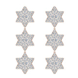 Star of David Diamond Cluster Chandelier Earrings Waterfall Style 14K Gold (I,I1) - Rose Gold