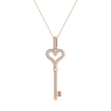 18K Gold Key to your Heart Diamond Necklace ¼ ctw (G,SI) - Rose Gold
