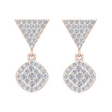 Cushion Diamond Dangle Earrings 14K Gold 0.80 ctw (G,SI) - Rose Gold