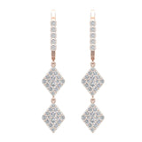 Kite Diamond Dangle Earrings Dainty Drop Style 14K Gold 1.14 ctw (I,I1) - Rose Gold