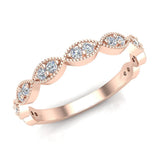Magnificent Stacking Infinity Style Milgrain Round Diamond Wedding or Anniversary Band 0.27 ctw 18K Gold (G,SI) - Rose Gold
