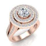 Statement Round Diamond Double Halo Split Shank Engagement Ring 1.77 ctw 18K Gold (G,SI) - Rose Gold