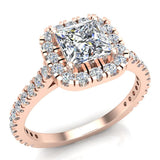 Princess Solitaire Cushion Halo Diamond Engagement Ring 1.30 ctw 18K Gold (G,SI) - Rose Gold