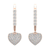 Heart Diamond Dangle Earrings Dainty Drop Style 14K Gold 0.75 ctw (G,SI) - Rose Gold