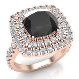 Black Diamond Cushion Cut Double Halo Diamond engagement rings for women 14K Gold 3.00 ctw (G,SI) - Rose Gold