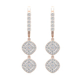 Cushion Diamond Dangle Earrings Dainty Drop Style 14K Gold 1.10 ctw (G,SI) - Rose Gold