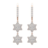 Star of David Diamond Dangle Earrings Dainty Drop Style 14K Gold 1.31 ctw (G,SI) - Rose Gold