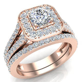 Round Cut Diamond Cushion Halo Split Shank Ring Set 14K Gold (G,I2) - Rose Gold