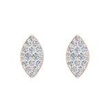 Exquisite Marquise Pave Diamond Stud Earrings 1/2 ctw 18K Gold (G,VS) - Rose Gold