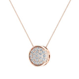 14K Gold Necklace Button Dainty Button Style Pendant 0.50 ctw (I,I1) - Rose Gold