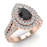 14K Gold Engagement Rings for Women Pear Cut Black Diamond Double Halo Rings 2.89 carat (I,I1) - Rose Gold