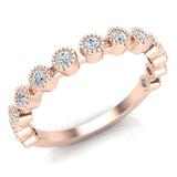 Stacking Bezel Set Milgrain Outline Round Diamond Friendversary Band 0.33 ctw 18K Gold (G,SI) - Rose Gold
