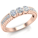 Three stone ring diamond vintage rings for women Past Present Future Anniversary Style 1/2 ct tw 14K Gold (G, SI) - Rose Gold