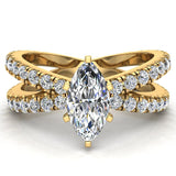X Cross Split Shank Marquise Cut Diamond Engagement Ring 1.75 carat Total 14K Gold - Yellow Gold
