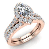 Marquise Cut Halo Diamond Wedding Ring Set 1.25 Carat Total 14K Gold (I,I1) - Rose Gold