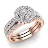 0.86 carat total weight Flower cluster Diamond Wedding Ring w/ Enhancer Bands Bridal set 14K Gold (G,SI) - Rose Gold