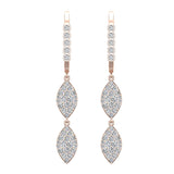 Marquise Diamond Dangle Earrings Dainty Drop Style 14K Gold 1.10 ctw (G,SI) - Rose Gold
