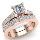 Princess Diamond Cathedral  Accent Engagement Ring Set in 14K Gold (G,SI) - Rose Gold