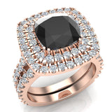 Black Diamond Cushion Cut Double Halo Diamond wedding rings for women 18K Gold 3.80 ctw (G,VS) - Rose Gold