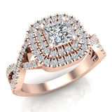 Twists Square Halo Princess Cut Engagement Ring 14K Gold 0.90 Ctw Diamonds (G,SI) - Rose Gold