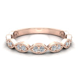 Magnificent Stacking Infinity Style Milgrain Round Diamond Wedding or Anniversary Band 0.27 ctw 14K Gold (I,I1) - Rose Gold