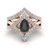 Pear Cut Black Diamond Wedding Ring Set 14K Gold (I,I1) - Rose Gold