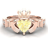 Genuine Heart Yellow Citrine Claddagh Diamond Ring 0.62 Carat Total Weight 14K Gold - Rose Gold