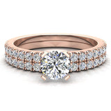 Petite Wedding Rings for women Round Cut Bridal set 14K Gold 0.90 carat (I, I1) - Rose Gold
