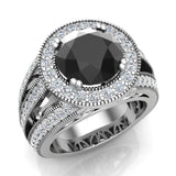 Large Black diamond engagement ring 18K Gold 9.30 mm 4.56 carat tw (G,VS) - White Gold
