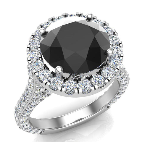 Black Diamond Engagement Rings 18K Gold Halo rings for women 5.50 carat (G,VS) - White Gold