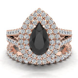 Pear Cut Black Diamond Double Halo Wedding Ring Set 18K Gold (G,VS) - Rose Gold