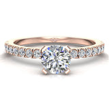 Petite Engagement rings for women Round Brilliant Cut diamond ring 14K Gold 0.65 carat (I,I1) - Rose Gold