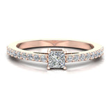 Classic Style Petite Princess Cut Diamond Promise Ring 14K Gold 0.55 Ctw (I,I1) - Rose Gold