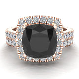 Black Diamond Cushion Cut Halo Diamond wedding rings for women 14K Gold 3.28 ctw (I,I1) - Rose Gold