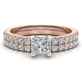 Petite Wedding Rings for women Princess Cut Bridal set 14K Gold 0.90 carat (I, I1) - Rose Gold