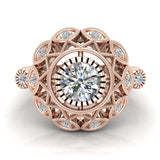0.92 Carat Vintage Style Filigree Engagement Ring 14K Gold (I,I1) - Rose Gold