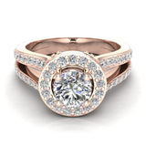 Exquisite Round Diamond Halo Split Shank Engagement Ring 1.35 ctw 18K Gold (G,SI) - Rose Gold
