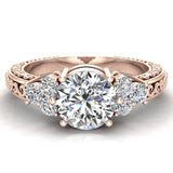 0.96 Carat Vintage Wedding Ring 14K Gold (G,I1) - Rose Gold