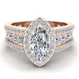 Elegant Marquise Brilliant Halo Diamond Engagement Ring 1.80 ctw 18K Gold (G,SI) - Rose Gold