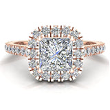Princess Solitaire Cushion Halo Diamond Engagement Ring 1.30 ctw 14K Gold (I,I1) - Rose Gold