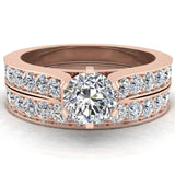 Wedding Ring Set for Women Round Solitaire Diamond Bridal Set Cathedral 14K Gold 1.50 carat (H,SI) - Rose Gold