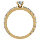 X Cross Split Shank Square Cushion Shape Diamond Engagement Ring 1.75 carat Total 18K Gold - Yellow Gold