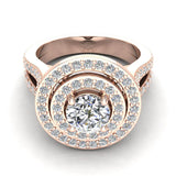 Statement Round Diamond Double Halo Split Shank Engagement Ring 1.77 ctw 14K Gold (I,I1) - Rose Gold