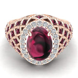 Cabochon Garnet & Diamond Cocktail Ring Halo Style Dome Shape Fashion Ring 2.93 Carat Total Weight 18K Gold - Rose Gold